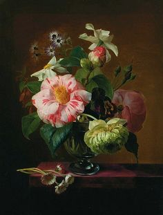 E. Agathe Pilon Still Life of Flowers in a Crystal Vase on a Table Top 19th century