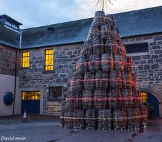 Whisky Christmas tree--Glen Moray Distillery Elgin,Scotland