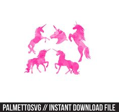 unicorns pink watercolor clip art, Svg, Cricut Cut Files, Silhouette Cut Files  This listing is for an INSTANT DOWNLOAD. You can easily create your