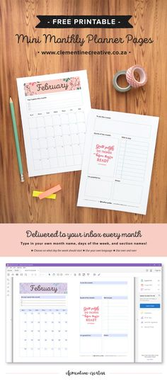 February 2016 Free Printable Monthly Planner Page
