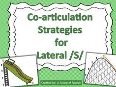 Co-articulation Strategies: Lateral S Articulation Therapy, Articulation Activities, Speech Therapy Activities, Language Activities, Speech Pathology, Speech Language Pathology, Speech And Language, Love Speech, Phonics Flashcards