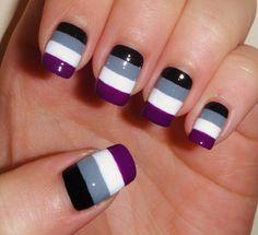 Nail design for Asexual Awareness Week (Oct 26 - Nov 1) http://asexualawarenessweek.com/
