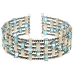 Tutorial - How to: Kavala Cuff Memory Wire Bracelet with Czech Mates Brick Beads | Beadaholique - Kat Silvia