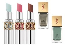 YSL spring 2013 makeup collection: Rouge Volupte lipstick in Fresh Mint (LE), Framboise Craquante, Moka Griotte. Nail Lacquer in Jade Imperial and Bronze Pyrite
