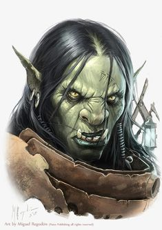 "In Tolkien's writing, Orcs are smaller in stature than Men. One ""huge orc-chieftain"" is ""almost Man-high"", but others must have been of a similar size to Hobbits (Frodo and Sam succeeded in disguising themselves as Orcs in Mordor). They had long arms and fanged mouths. Some had black skin. Some had short, crooked legs. They had black blood."