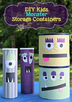 5 tips for organizing kids rooms plus a cute DIY Kids Monster Storage Containers craft.
