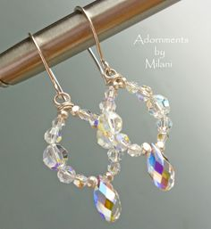 Bridal Earrings Crystal Hoops Wedding Jewelry Sparkly Beaded Sterling Silver Matching Set- Gilded. $35.00, via Etsy.