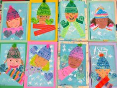 In the Art Room: Printed and Collaged Winter Self Portraits by Second Grade (Cassie Stephens) Christmas Art Projects, Winter Art Projects, Diy Projects, First Grade Art, Second Grade, January Art, Kindergarten Art Projects, Ecole Art, Theme Noel