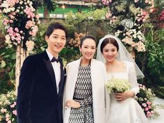 The happy couple Song Joong Ki and Song Hye Kyo with their honorary guest Zhang Zi Yi