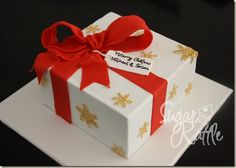 I did a simple Christmas Gift Box cake for a dear friend of us recently, just now to practice my skill of covering square cake as well. Christmas Present Cake, Christmas Gift Box, Christmas Goodies, Christmas Desserts, Christmas Cakes, Christmas Cake Designs, Christmas Cake Decorations, Holiday Cakes, Cupcakes Design