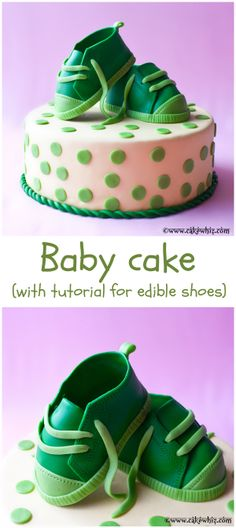 BABY CAKE with a tutorial for making cute and  edible baby shoes. From cakewhiz.com