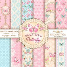 Papel Digital Mariposas, Butterfly Digital Papers, Mariposas Papel Digital, Digital Papers Butterfly, Patterns Scrapbooking, Floral Papers