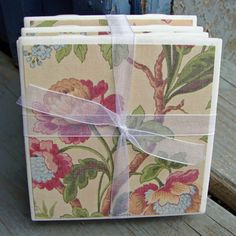 Vintage Cream Floral Handmade Tile Coasters Set of 4 by CaffeinatedPapercuts on Etsy, $6.50