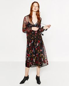 LONG EMBROIDERED DRESS-DRESSES-WOMAN   ZARA United States