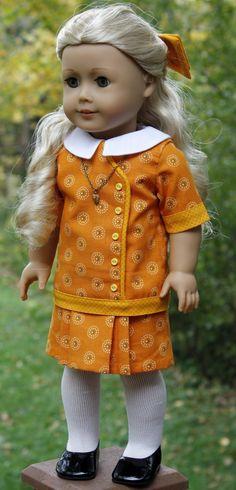 American Girl/ 18 Inch Doll Clothing - Pumpkin and Spice Outfit American Girl Dress, American Doll Clothes, Ag Doll Clothes, Doll Clothes Patterns, Clothing Patterns, American Dolls, Doll Patterns, Boy Doll, Girl Dolls