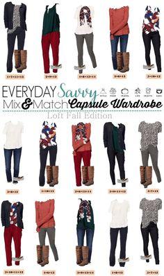 Loft Fall Capsule Wardrobe – Easy Mix & Match Outfits for Fall (Everyday Savvy) Fall Capsule Wardrobe, Capsule Outfits, Fashion Capsule, Look Fashion, Autumn Fashion, Fashion Outfits, Womens Fashion, Fashion 2018, Ladies Fashion