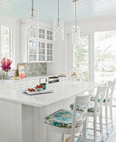 White Cottage Farmhouse Kitchen with Aqua Splashes