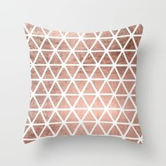 Geometric faux rose gold foil triangles pattern Throw Pillow by Girly Trend - Cover x with pillow insert - Indoor Pill