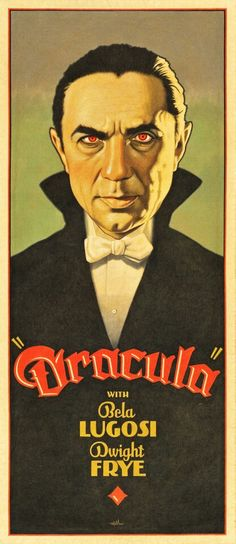 """Dracula"", Illustration and Graphic by Arthur K. Miller (b. American) - from the Film: 'Dracula', starring Bela Lugosi ~ 'Inspired and Restyling' of Classic Hollywood Horror Film (& lobby/cards) Posters. Horror Movie Posters, Old Movie Posters, Classic Movie Posters, Classic Horror Movies, Movie Poster Art, Classic Films, Scary Movies, Old Movies, Vintage Movies"
