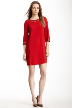 Clunky: Holiday Red Bell Sleeve Stretch Crepe Tunic Dress with scoop back : Love it