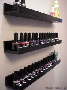Nail polish storage shelves from Home Depot. or floating picture shelves… Nail polish storage shelves from Home Depot. or floating picture shelves available in white or espresso. Contemporary storage solution for nail polish Vanity Shelves, Storage Shelves, Storage Ideas, Organization Ideas, Bathroom Organization, Ikea Storage, Room Shelves, Makeup Shelves, Dvd Shelves