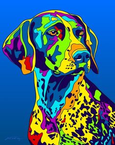 Multi-Color German Shorthaired Pointer Matted Prints & Canvas Giclées. Hand painted and printed in USA by the artist Michael Vistia. Dog Breed: The German Shorthaired Pointer is a medium to large size