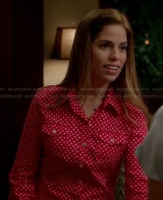 Marisol's red and white printed shirt on Devious Maids Other Outfits, Latest Outfits, Fashion Outfits, Ana Ortiz, Devious Maids, Apple Prints, Maid Outfit, Red Apple, Her Style