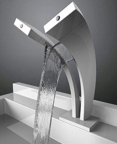 Waterfall Faucet Design For Modern Bathroom Style - Home & Decor Lavabo Design, Casa Clean, Waterfall Faucet, Yanko Design, Bathroom Interior, Bathroom Modern, Modern Sink, Bathroom Remodeling, Bathroom Furniture
