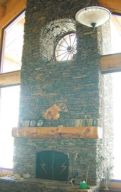 fire place with window