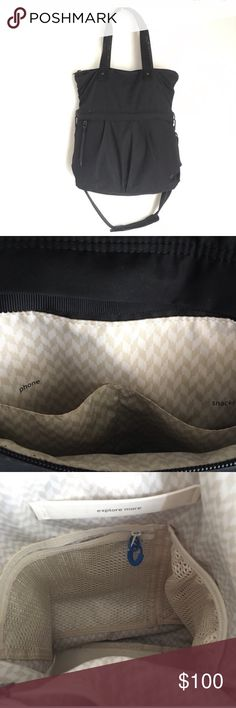 """Lululemon🍋Black Gym Bag Tote Lululemon """"Twice as Nice Tote"""". Black. Convertible tote with zipper top closure is perfect for your commute.  Durable fabric is easy to wipe clean.  Wear  this bag as a cross body or remove the strap and carry it as a tote. Easy access  zipper pocket for your phone and wallet. Interior System for your Essentials. Interior wet/dry pocket labeled """"sweaty wet unmentionables""""  Hardly used  in great condition.  Tested to hold 50 pounds 13 1/2"""" X 5 X 16.5"""" lululemon…"""