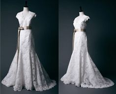 French Corded Lace Mermaid Wedding Dress with Cap Sleeves on Etsy, $212.40 CAD