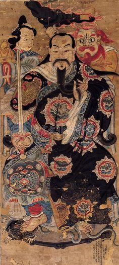 Xuan Wu es una de las deidades ampliamente veneradas, situándose en popularidad sólo por detrás de Kwan Yin y Kwan Kung. El Dios siempre se representa con una espada mágica, La leyenda dice que Él tomó prestada la espada mágica para rechazar un poderoso demonio, también se considera como un Dios de riqueza #fengshui #xuanwu #buddhism #asia #america #energy #wisdom #wealth #spring #april #14 #caracas #venezuela #2014 #fsve168 Chinese Painting, Chinese Art, Feng Shui Images, Folk Religion, Chinese Mythology, Taoism, Chinese Culture, Asian Art, Buddha