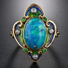 Art Nouveau Black Opal and Enamel Ring
