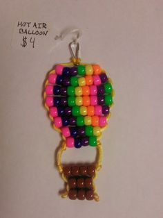 Hot Air Balloon Pony Bead  Keychain by BeadPets