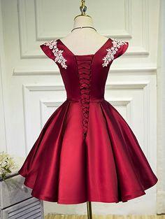 Wine Red Cap Sleeves Short Party Dresses, Satin Formal Dresses, Cute P – BeMyBridesmaid Cute Dresses For Party, Dresses For Teens, Casual Dresses, Short Dresses, Girls Dresses, Formal Dresses, Mermaid Prom Dresses, Homecoming Dresses, Bridesmaid Dresses