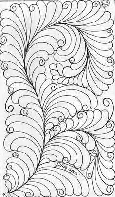 This is a basic feather design: When you draw out a double or hollow spine and fill it with a design. Diy Quilting Patterns, Quilting Templates, Machine Quilting Designs, Quilling Patterns, Longarm Quilting, Zentangle Patterns, Free Motion Quilting, Quilting Tutorials, Quilting Projects