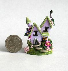 Miniature Wonderful Whimsical Lavender Fairy Cottage House OOAK C Rohal