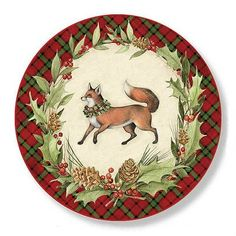Plaid Forest - CHRISTMAS PLAID, FOX - Round Plaid Christmas, Vintage Christmas, Christmas Crafts, Christmas Decorations, Xmas, Decoupage Paper, December Daily, Christmas Printables, Vintage Images