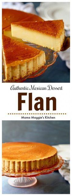 Flan - authentic Mexican Dessert - creamy, delicious, and rich dessert. A Mexican favorite recipe. Via Flan - authentic Mexican Dessert - creamy, delicious, and rich dessert. A Mexican favorite recipe. Via Authentic Mexican Desserts, Mexican Dessert Recipes, Filipino Desserts, Authentic Spanish Flan Recipe, Hispanic Desserts, Authentic Food, Best Dessert Recipes, Mexican Flan, Mexican Dishes