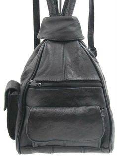 BLACK COWHIDE BACKPACK SHOULDER BAG MULTI-FUNCTIONAL TRAVEL ORGANIZER