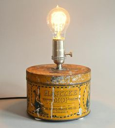 """Vintage Harzee Tin Lamp   A vintage metal """"Harzee Mop"""" tin finds new life (and light) in...   Table Lamps"""