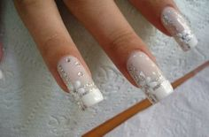 love the design would want them alot shorter -White flower nails pinned with @PinvolveLove