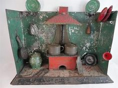 Tin Plate Kitchen with Stove and RARE Hood Litho Floor Antique 19th Century Toy