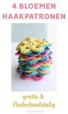 Haakpatronen Nederlands gratis. 4x bloemen haken. Filet Crochet, Diy Crochet, Big Knits, Holly Hobbie, Crochet Flowers, Needle Felting, Needlework, Crochet Necklace, Crochet Patterns