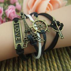 Dresswe.com SUPPLIES Hand-weaved Black Eiffel Tower Arrow of LOVE Helm Multi-layers Leather Bracelet Bracelet