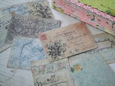 Shabby style notecards - small notecards - notecards -  Paris notecards - blues and greys - postcards - embellishments - scrapbooking