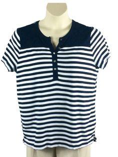 b1277ccaf736f Womens Chaps Knit Top Plus Size 2X Cap Sleeve Black White Striped Metal  Buttons  Chaps