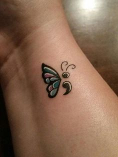 The combination of semicolon and butterflies are very popular because of the message these two symbols convey. Put together, you have your own life savior.