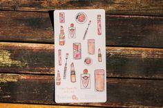 Makeup Planner Stickers Watercolor Stickers by BellaRosePaperCo #makeup #watercolor #planneraddict #planners