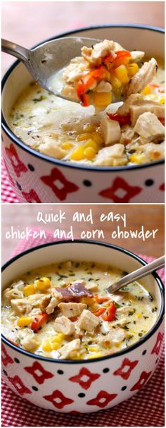 Quick and easy chicken and corn chowder is perfect for those who don't love fish, but do love the creamy deliciousness of chowders.